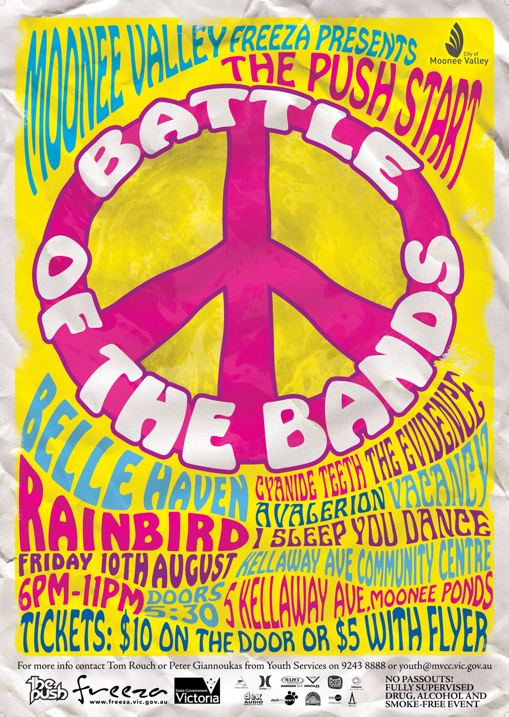 Poster design 60s - The Main A3 Battle Of The Bands Poster Design